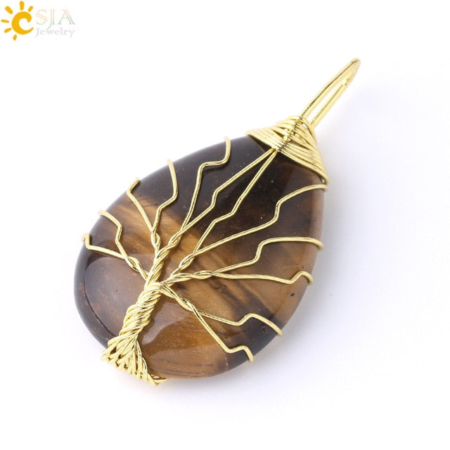 Tree of Life Necklace Pendant with Wire Wrap Natural Stone