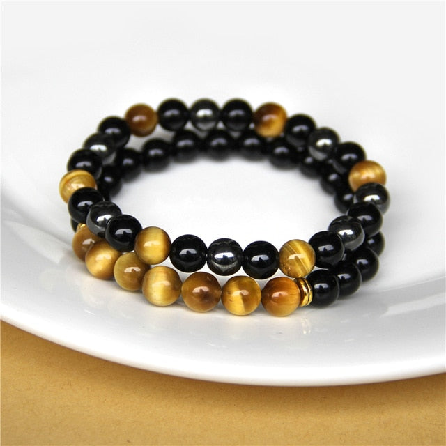 Black Onyx & Tiger Eye Natural Stone Bracelet