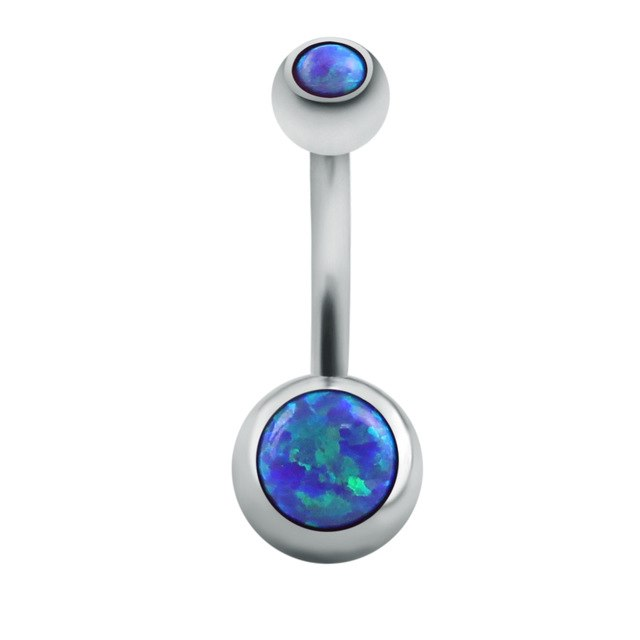 Opal Stone Belly Button Bar