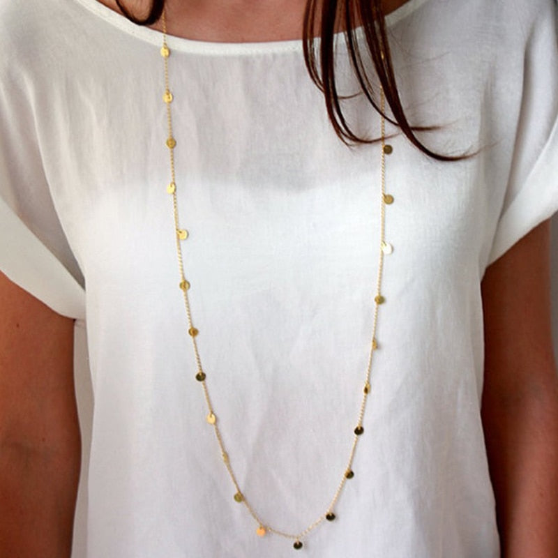 Long BOHO Gold Plated Sequin Necklace