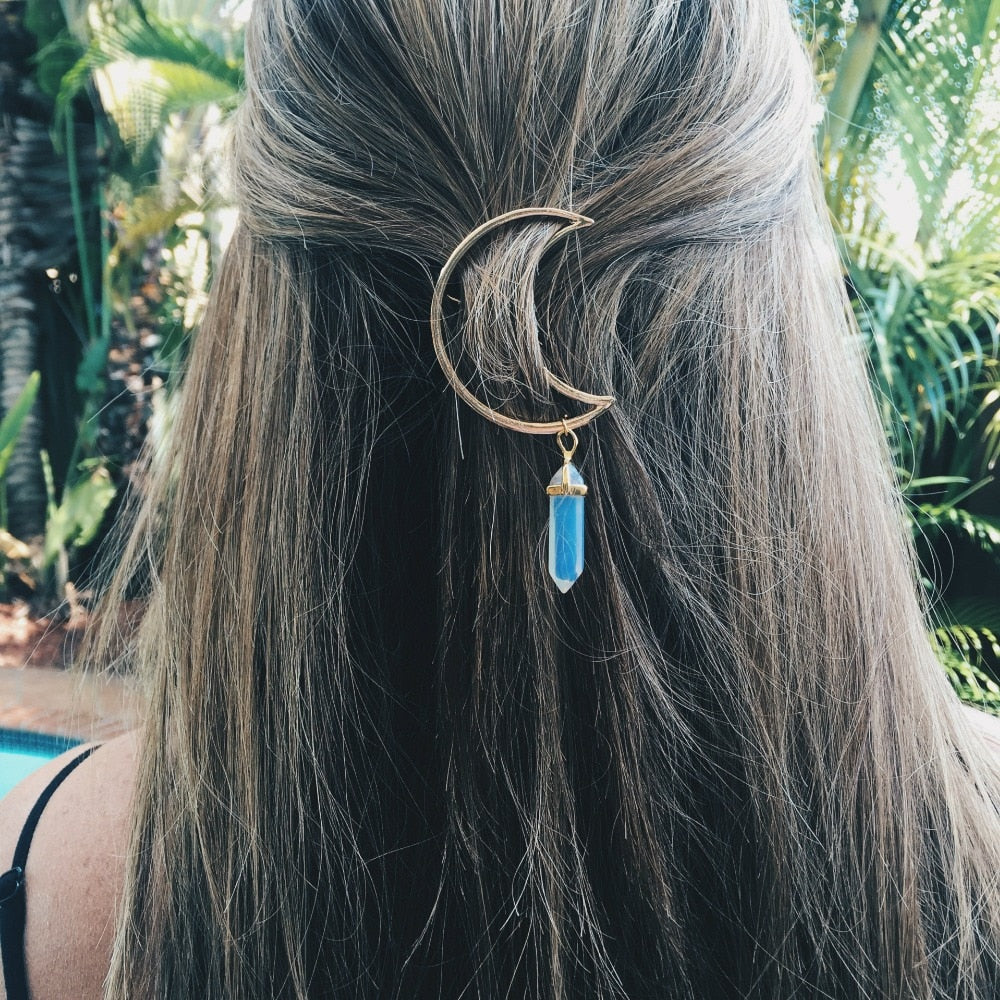 Crescent Moon Natural Crystal Hair Clip
