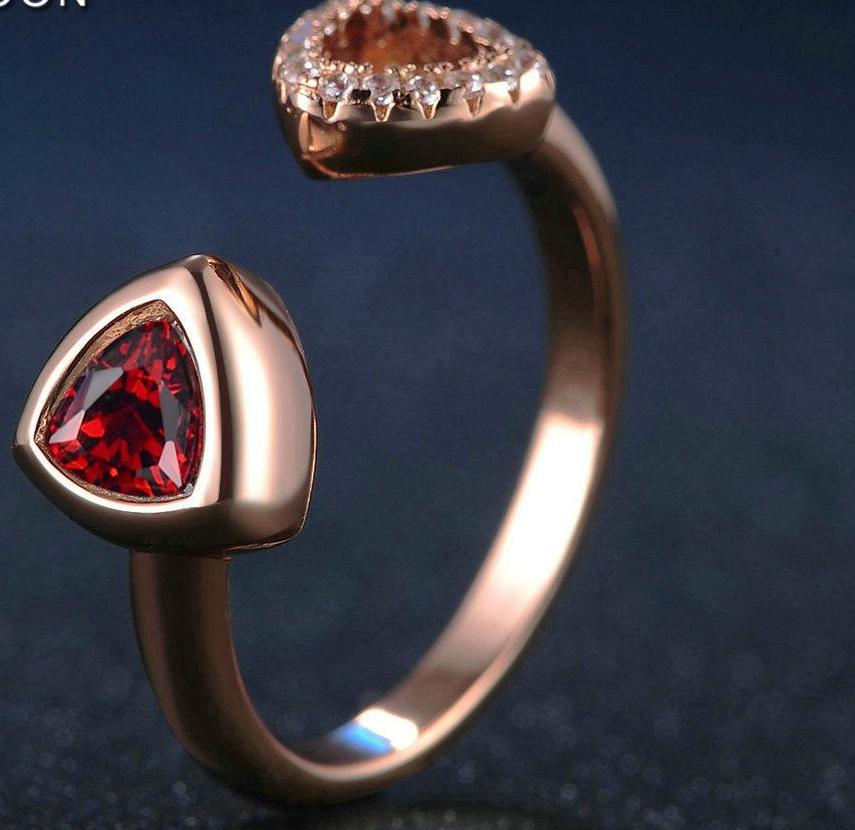Natural Triangle Garnet 925 Sterling Gold Ring