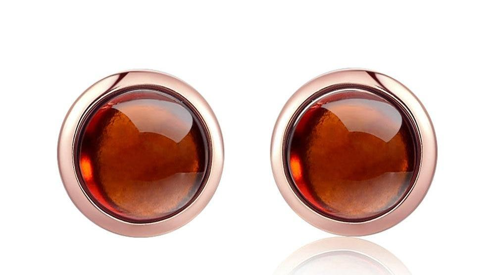 6mm 100% Red Garnet Stud Earrings 925 Sterling Silver