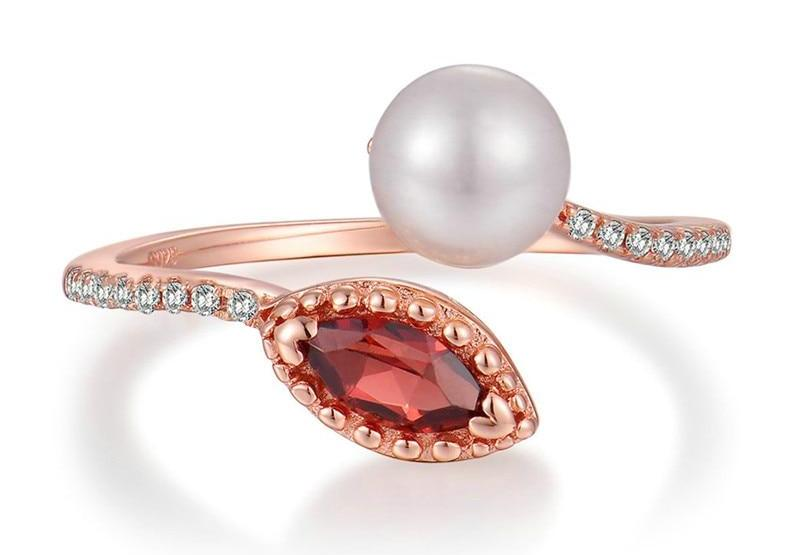 Red Garnet & Freshwater Pearl 925 Sterling Silver Ring