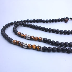 Tiger Eye & Lava Sone Wing Necklace