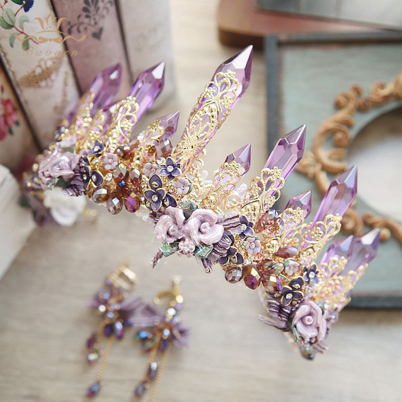 Hand Crafted Crown & Earring Set