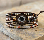 BOHO  Japser Charm Wrap Bracelets with Natural SunStones and Leather Rope