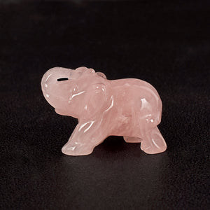Rose Quartz Hand Crafted Elephant