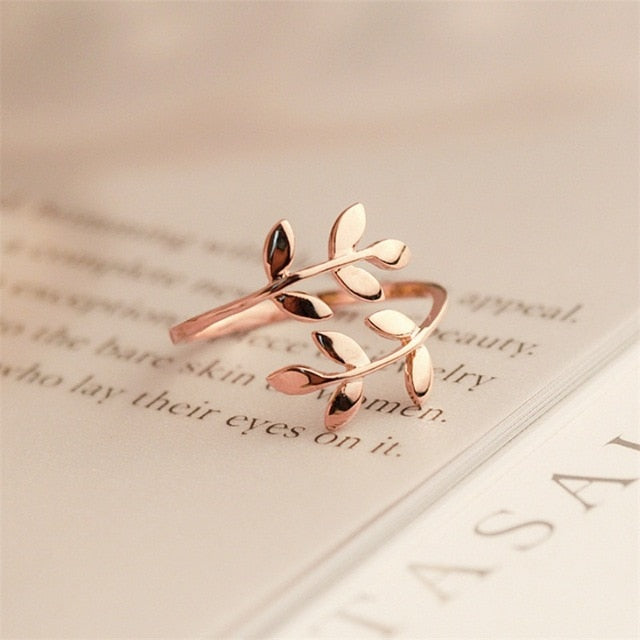 Olive  Leaves Adjustable Gold Plated Ring