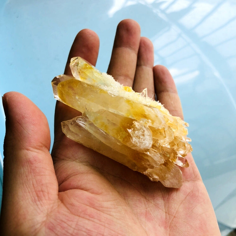 Natural Raw Yellow Quartz Crystal Cluster
