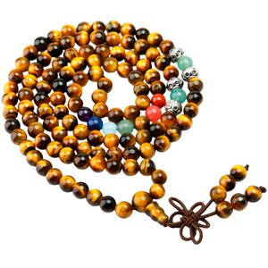 Tiger's Eye 7 Chakra Tibetan Buddhist Prayer Beads