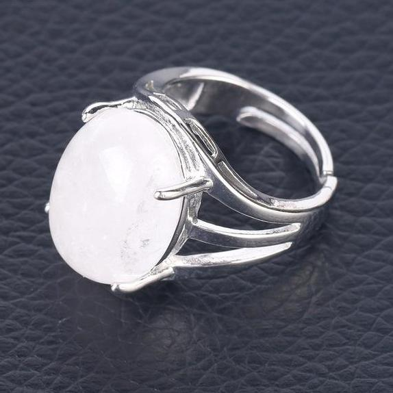 Adjustable Moon Ring, Crystal Of Your Choice
