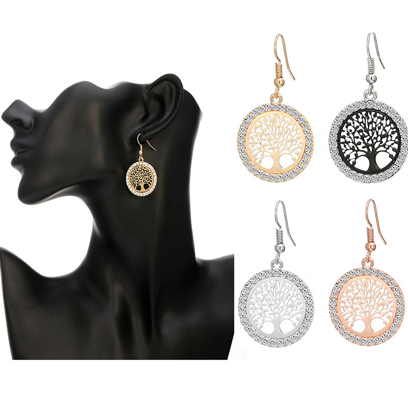 Silver Plated Crystal Tree of Life Dangle Earrings