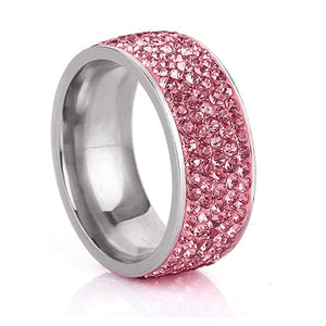 Clear Crystal Rhinestone Stainless Steel Rings For Women