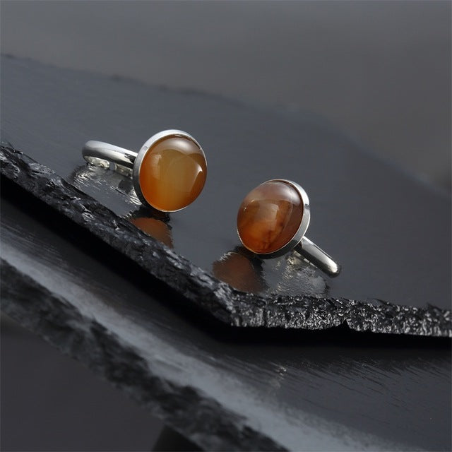 Vintage Natural Stone Open Silver Plated Ring