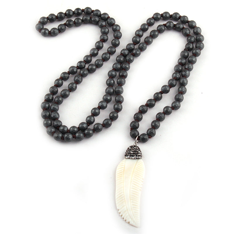 Hematite Stone Knotted Shell Necklaces