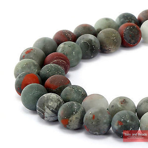 "Natural Stone Dull Polish Matte African Bloodstone Beads 15"" Strand 6 8 10 12mm Pick Size For Jewelry Making MBB01"