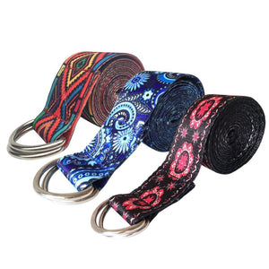 2018 New Color Pattern Stretchy Yoga Band Durable Cotton Exercise Strap Adjustable D-Ring Buckle Gives Flexibility For Yoga