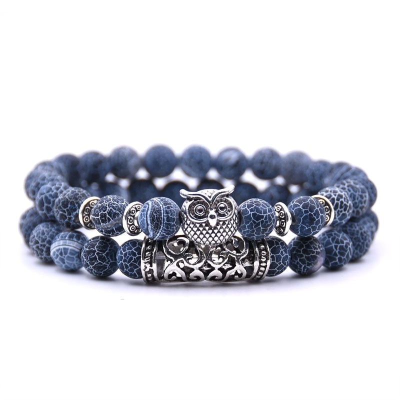 Owl Natural Lava Stone Bangles 2 Pcs/set