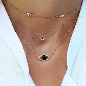 Crystal Eye Multilayer Pendant Necklace