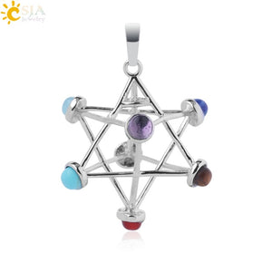 7  Chakra Geometric Natural Stone Pendant Necklace