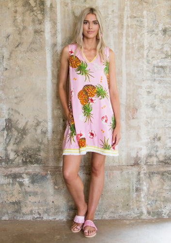 Pineapple VNeck Dress (Short) - Anannasa