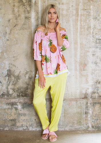 Pineapple Off Shoulder Blouse - Anannasa