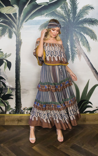 TAJ OFFSHOULDER DRESS with SASH BELT