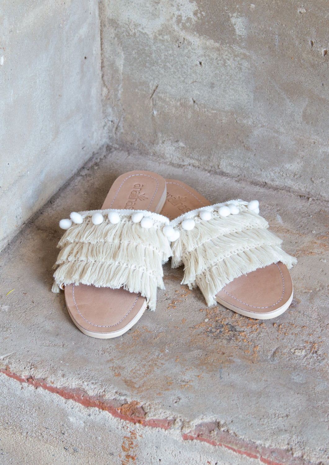 Natural Pompom Shag Slides
