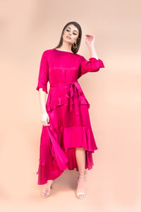 LISA DRESS- POMEGRANATE