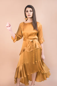 LISA DRESS - SAFFRON