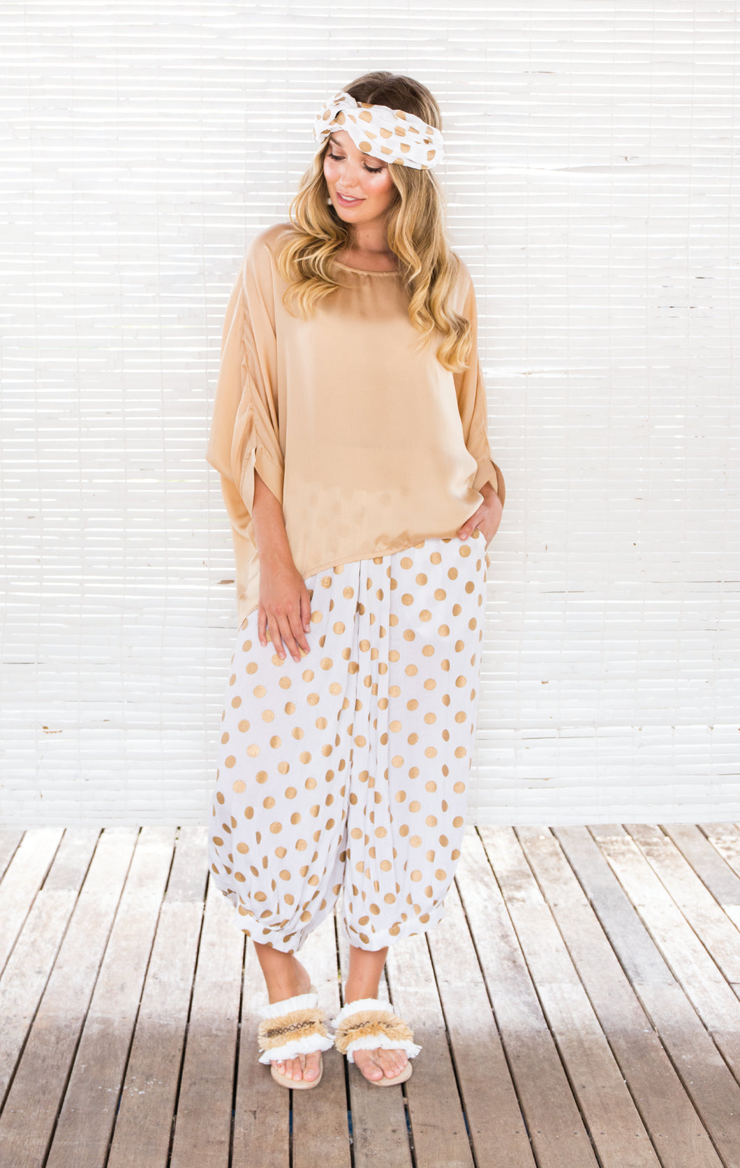 GOLD DOT CROP PANTS