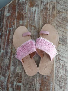 Pink Fringed Toe Slides - Anannasa