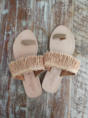 Gold Fringed Toe Slides - Anannasa