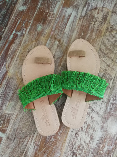 Green Fringed Toe Slides - Anannasa