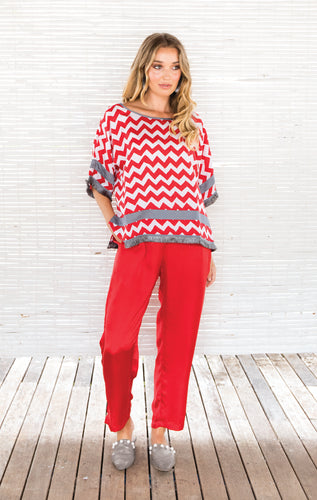 CHEVRON FRINGED BLOUSE