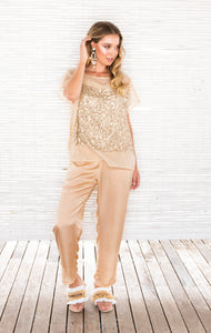 GOLD SEQUIN TOP with CAMI
