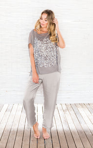 SILVER SEQUIN TOP with CAMI
