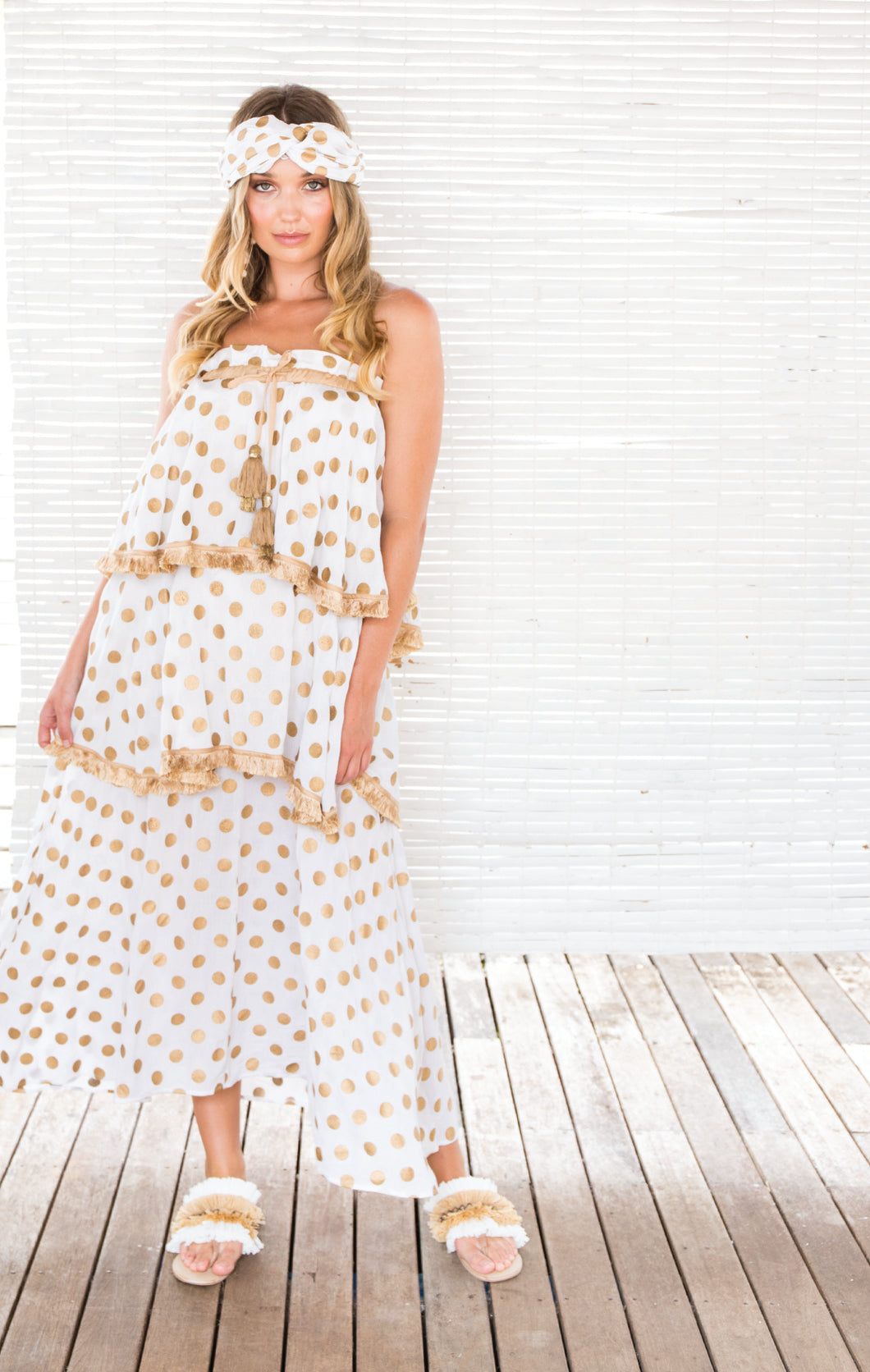 GOLD DOT 3 TIER DRESS