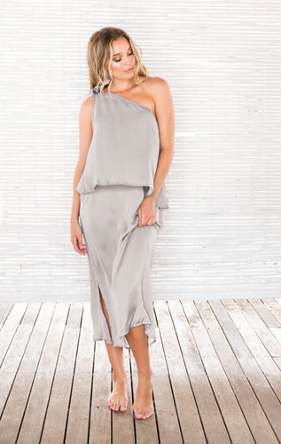 SURI ONE SHOULDER DRESS SILVER