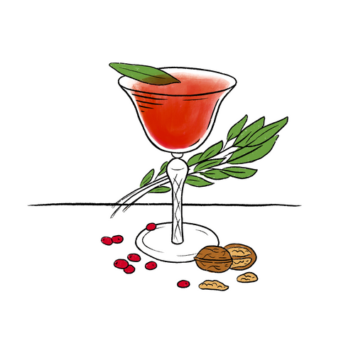 Champagne coupe filled with amber coloured liquid and a floating sage leaf. Surrounded by sage leaves, walnuts, and cranberries.