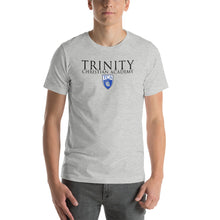 Load image into Gallery viewer, Trinity Conquerors Shield Logo Short-Sleeve Unisex T-Shirt Black Text