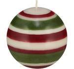 LARGE RED, PEARL & OLIVE BALL CANDLE