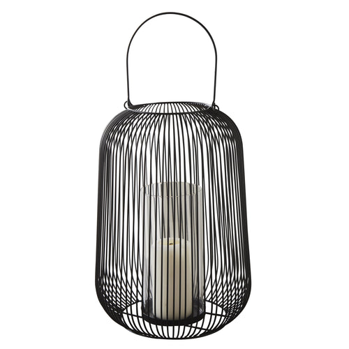 LARGE BLACK WIRE LANTERN