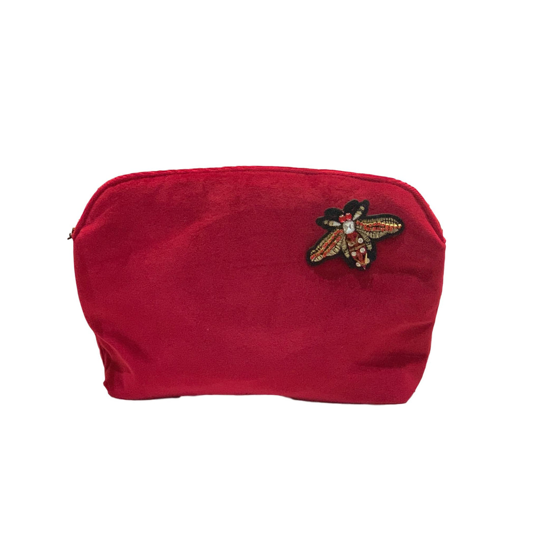 LARGE VELVET MAKE UP BAG with Red Bee Pin - Deep Red