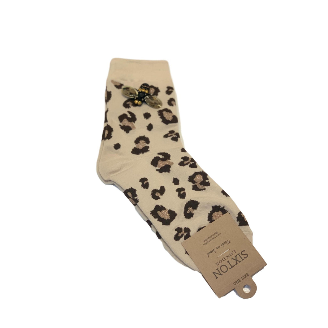 LEOPARD LUXE SOCKS with BEE PIN - Cream