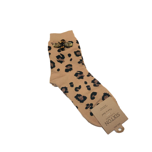 LEOPARD LUXE SOCKS with BEE PIN - Caramel