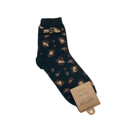 LEOPARD LUXE SOCKS with BEE PIN - Black