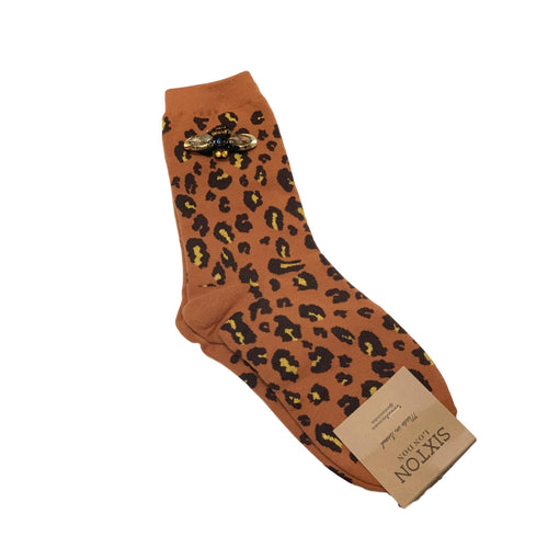 LEOPARD FOREST SOCKS with BEE PIN - Rust