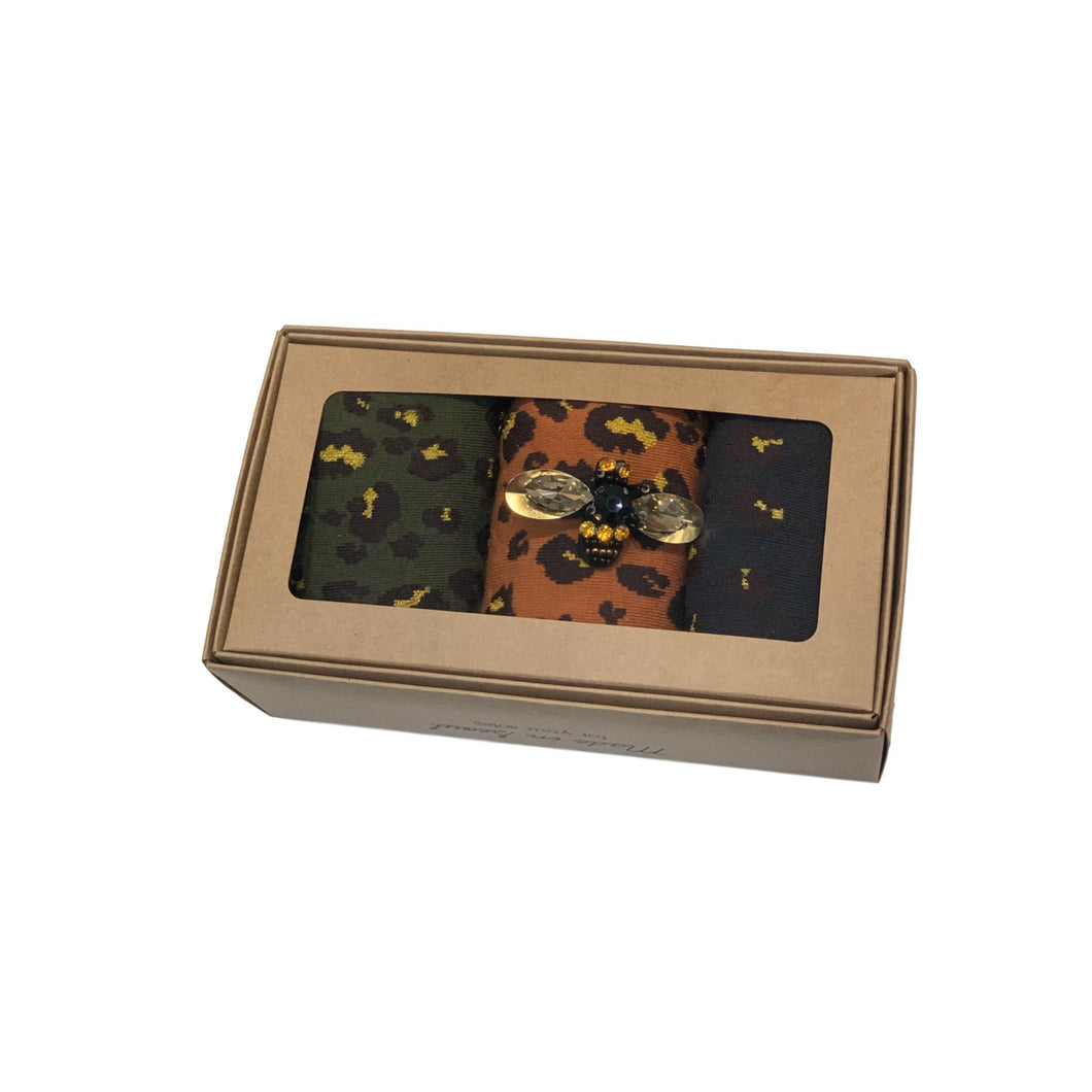 LEOPARD FOREST SOCK BOX with BEE PIN